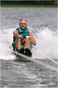 FDOA Founder David Jones sit water skiing